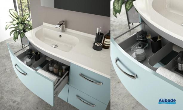 Meuble vasque 4 tiroirs Elio coloris Fjord et plan Artic brillant de la marque Ambiance Bain