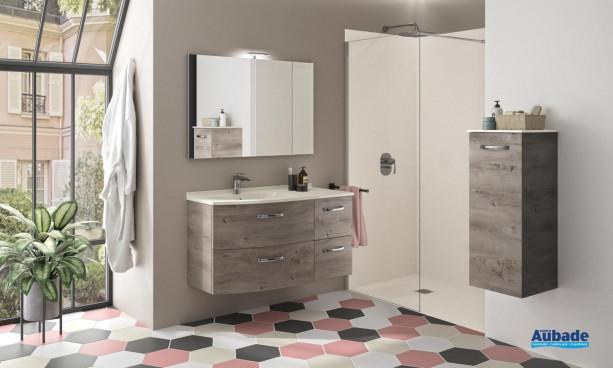 Meuble de salle de bains Elio avec 4 tiroirs coloris Inari et plan vasque blanc mat de Ambiance Bain