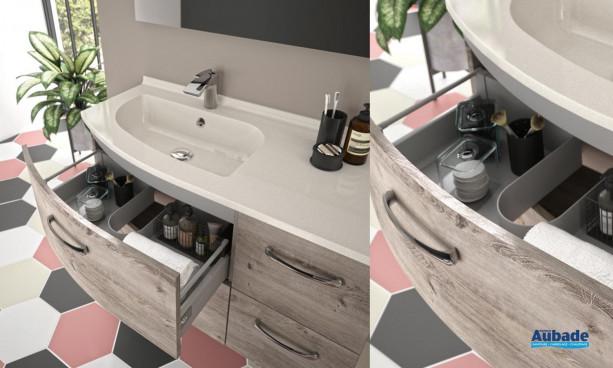 Meuble vasque 4 tiroirs Elio coloris Inari et plan Blanc mat de la marque Ambiance Bain