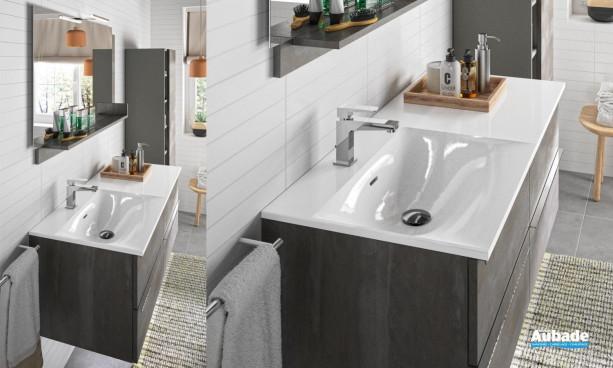 Meuble de salle de bains Chiara 120 cm Béton Vulcano de Cedam
