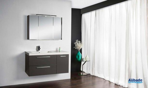 Harmonie de Cedam avec meuble 2 tiroirs 1 porte, armoire de toilette et plan vasque en marbre reconstitué