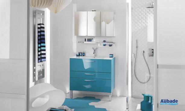 ensemble meuble sous-vasque bleu avec plan vasque en verre blanc, miroir applique LED et armoire de toilette Delpha Unique 90 cm