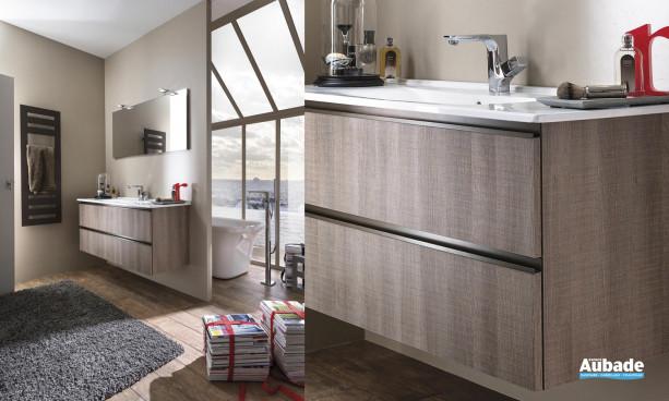 ensemble miroir appliques LED, vasque et meuble sous-vasque décor chêne scié foncé 2 rangements Delpha Unique 123
