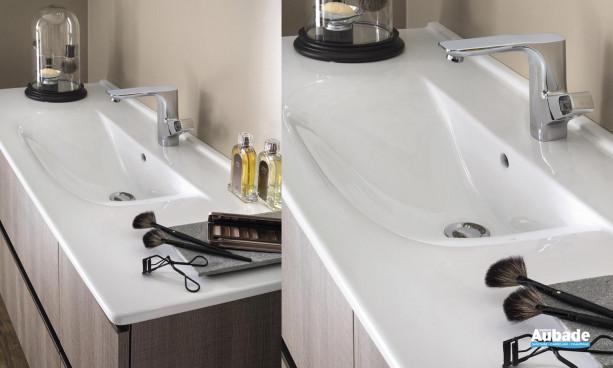 plan vasque céramique blanc profondeur 48 cm Delpha Unique 123