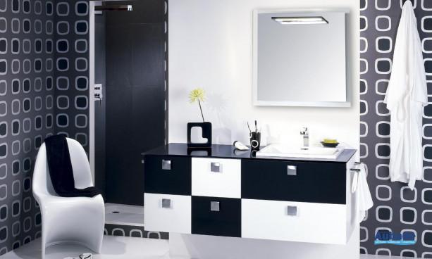 meuble façade polie et lustrée, vasque en céramique et meuble rangement Lido Opus