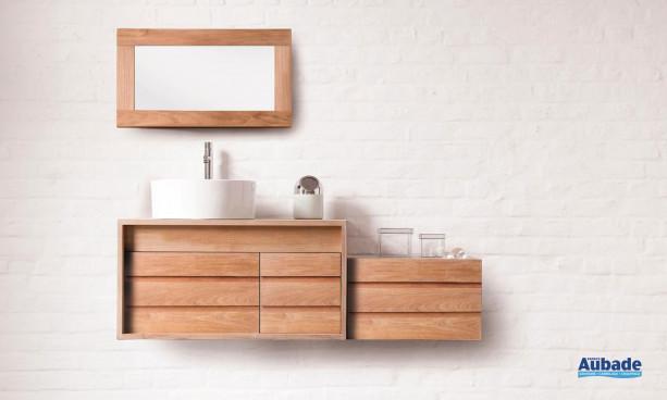 ensemble mobilier salle de bains en bois clair Cube Line Art