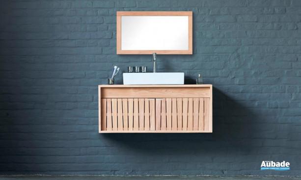 meuble sous vasque et miroir en bois naturel Line Art Cube
