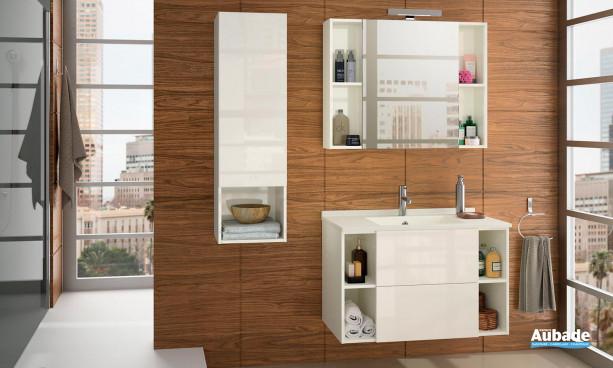 Meuble de salle de bain lin tissé