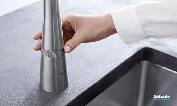 Sélection de la température mitigeur évier ZEDRA SmartControl