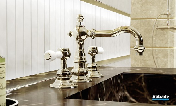 Mélangeur lavabo 3 trous nickel brillant Julia Victoria