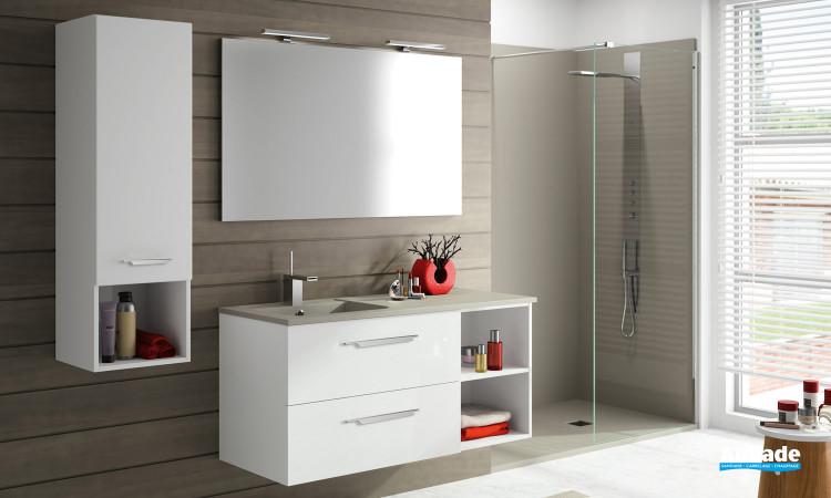 Meuble de salle de bains Vita coloris blanc L 140 cm par Ambiance Bain