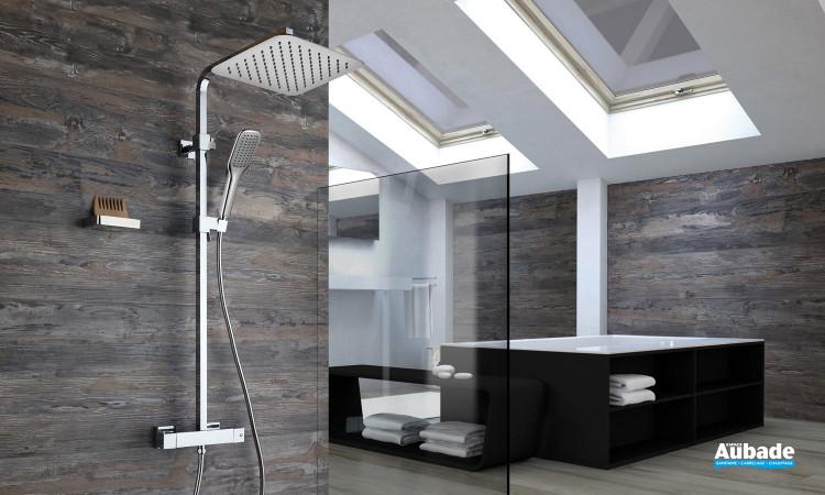 Colonne de douche thermostatique complète Paini France avec douche de tête carrée Square 2