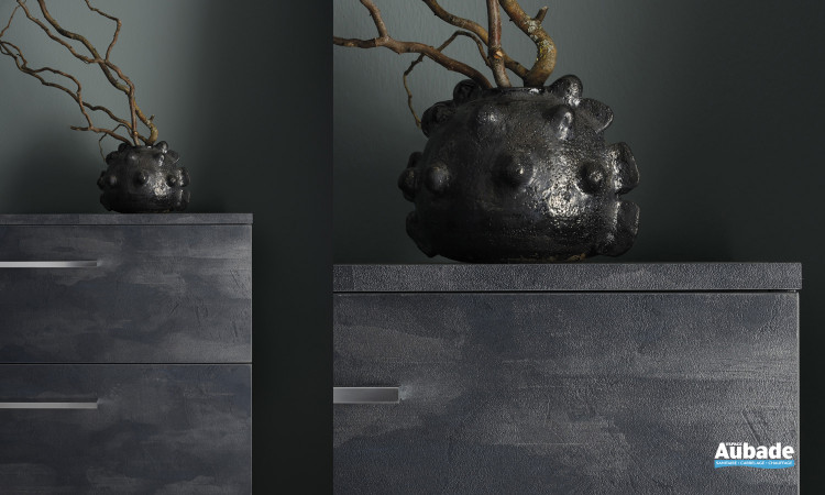 Commode 2 tiroirs L 80 cm poignées rapportées mélaminé taloché bleu