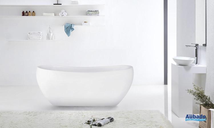 Baignoire monobloc en acrylique blanc à poser en îlot Cosibelle de la marque Jacuzzi