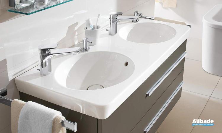 lavabo double en céramique de Villeroy & Boch, collection Joyce