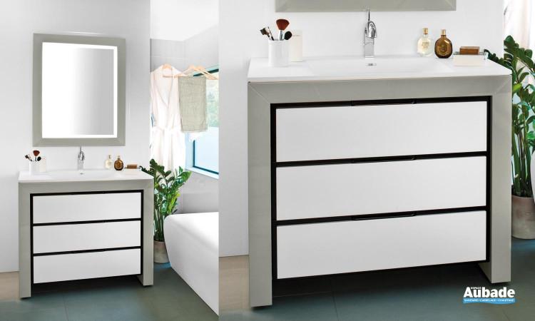 meuble longueur 100 cm et vasque en Solid surface blanc, miroir 80 cm Decotec