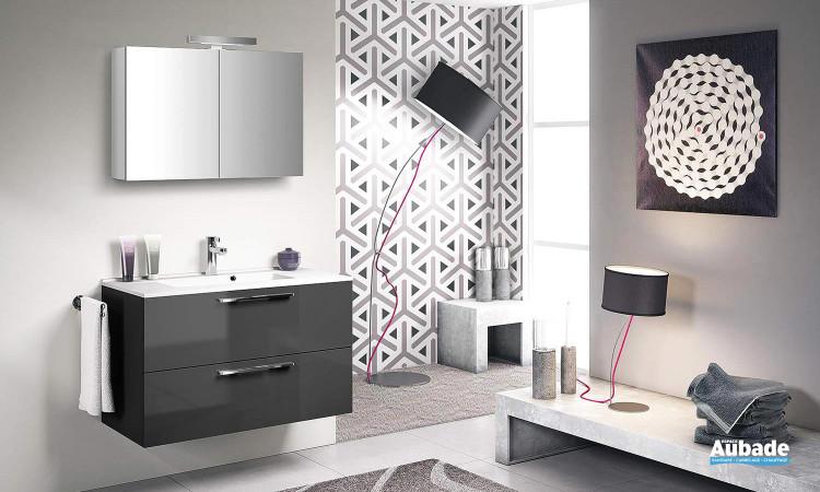 meuble façades vernies gris anthracite, plan vasque moulé et armoire de toilette avec applique halogène Delpha Graphic GC90D