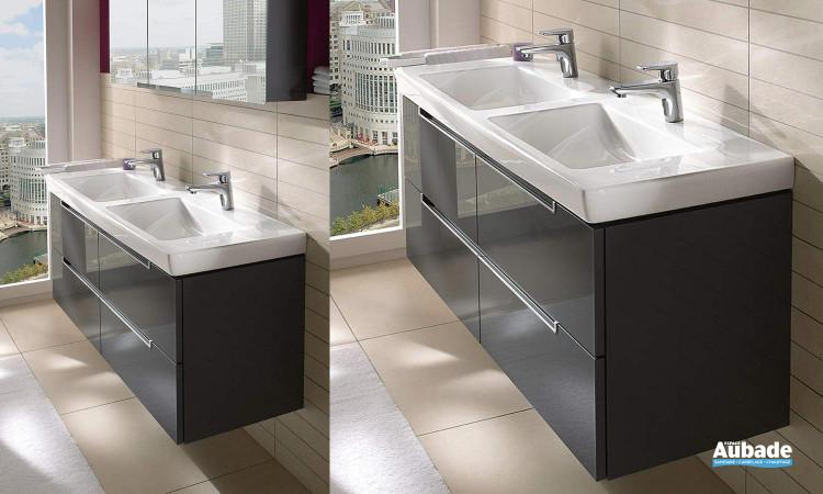 ensemble meubles sous vasque 4 tiroirs sur rails et miroir éclairant Villeroy et Boch Subway 2.0