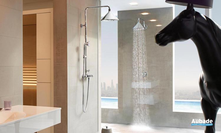 Showerpipe avec mitigeur thermostatique, douche de tête 2jet 240 mm et douchette 1jet de Axor