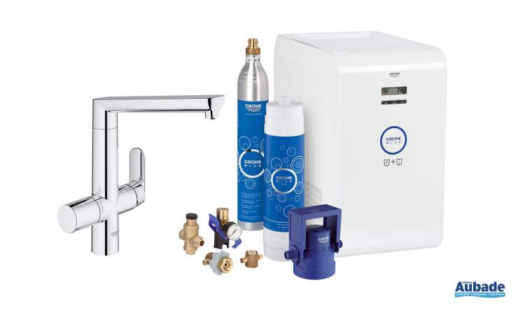 Mitigeur évier  filtrant Blue II de Grohe capable de réfrigérer et de rendre l'eau pétillante