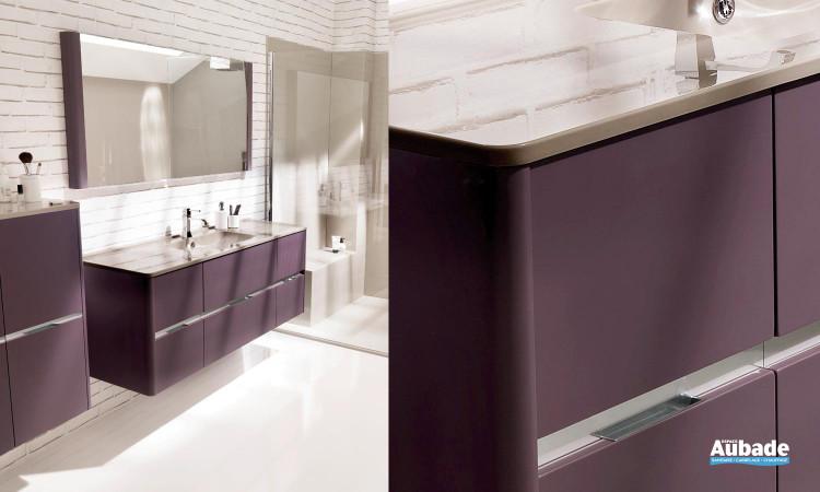 ensemble meuble sous-vasque couleur Aubergine, miroir montants latéraux et meuble demi-colonne double Ambiance Bain Dolce
