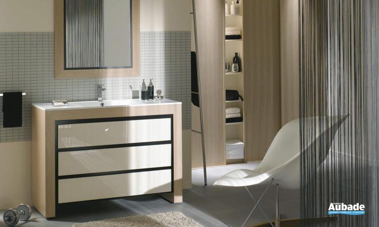 meuble 3 tiroirs longueur 100 cm avec plan vasque blanc polaire, et miroir Decotec Vendôme