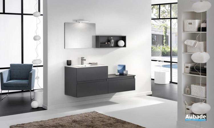 meuble double vasque façade graphite satiné 160 cm et miroir halogène Delpha L160