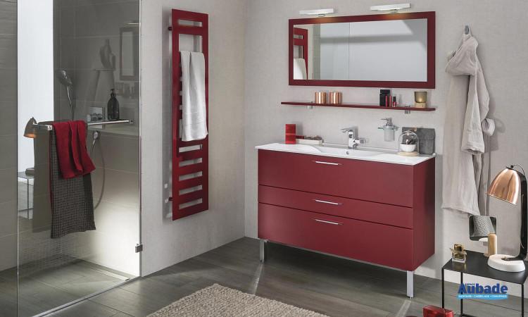 ensemble Delpha Unique 123 avec meuble façades rouge imperial, plan vasque céramique blanc brillant et miroir apliques LED
