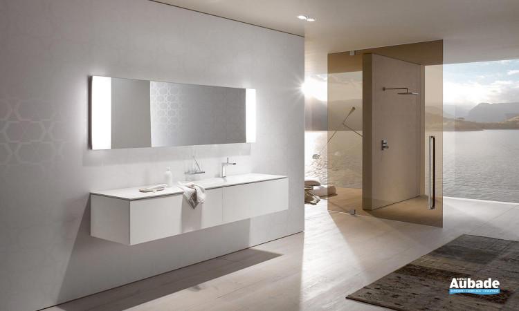 ensemble finition verre blanc avec miroir, armoire toilette et vasque céramique Keuco Edition 11