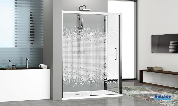 Paroi de douche design avec profilés chromés ou blancs Novellini Kuadra 2P