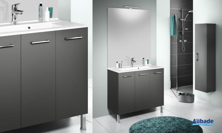 Miroir avec applique, meuble bas graphite satiné et plan vasque moulé 46 cm + sèche-serviettes Delpha ProMOULE PL90