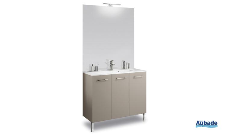 Miroir avec applique, meuble bas beige satiné et plan vasque moulé 46 cm Delpha ProMOULE PL90