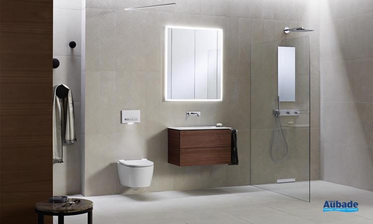 Zoom meuble de salle de bains Geberit One finition placage bois véritable noyer américain de Geberit