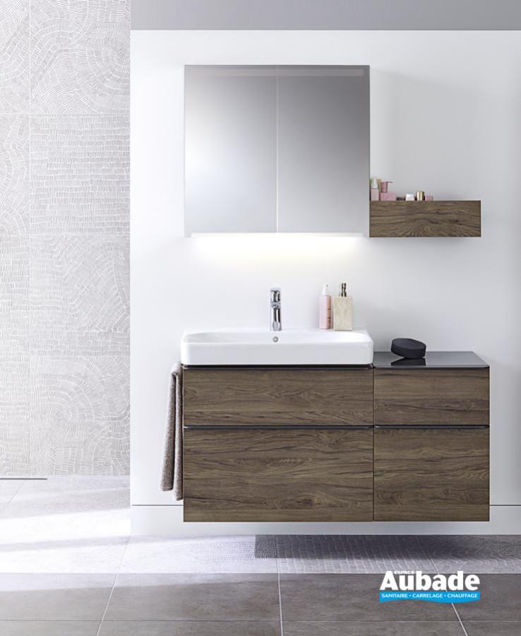 Meuble de salle de bains Smyle finition Noyer Carya de Geberit