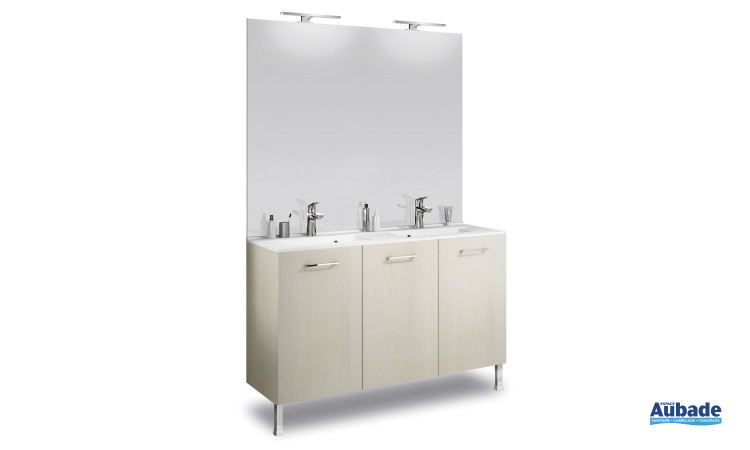 Plan vasque moulé profondeur 46 cm et miroir deux appliques Delpha Promoule Deco PML120