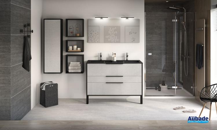 Meuble de salle de bains largeur 120 centimètres avec 2 coulissants et 1 tiroir de la gamme Ultra Cadra coloris tissé gris structuré et corps de meuble Noir mat de la marque Delpha