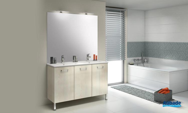 Ensemble meuble bas 3 portes avec plan céramique et miroir 80 cm Delpha ProCERAM Express 124