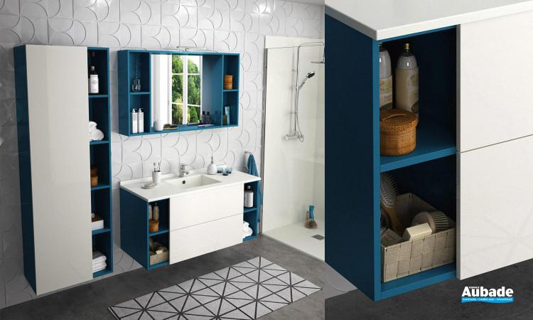 Meubles de salle de bain Open coloris Atoll et façade blanc brillant de Ambiance bain