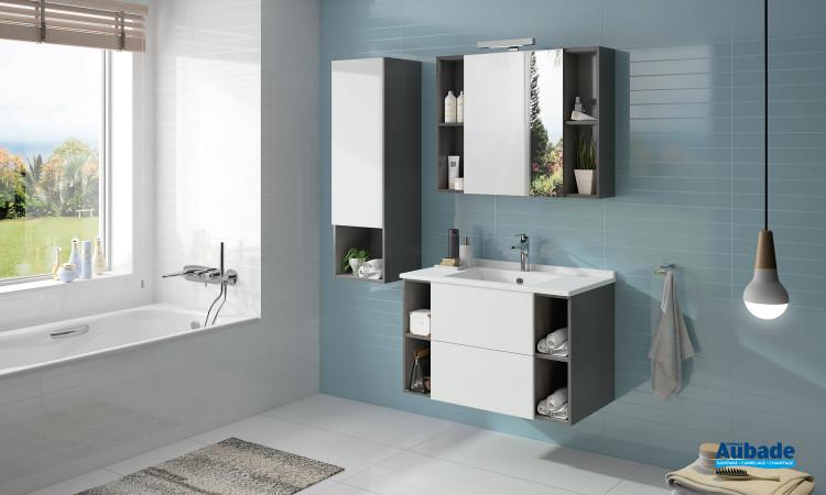 Meuble de salle de bains Open coloris graphit et façade blanc brillant par Ambiance Bain 2