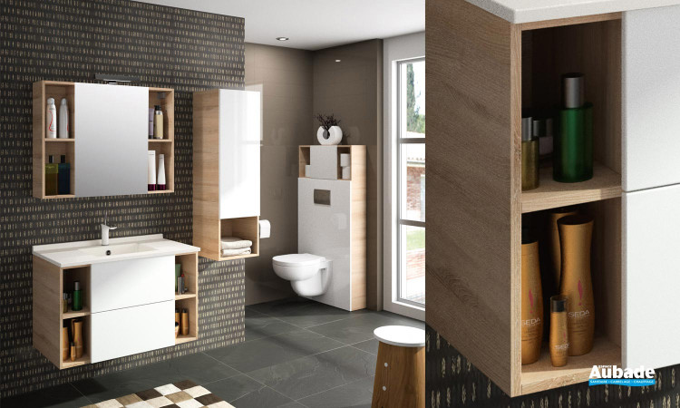 Meuble Open pour salle de bains corps de meuble coloris messina et façade blanc brillant par Ambiance bain