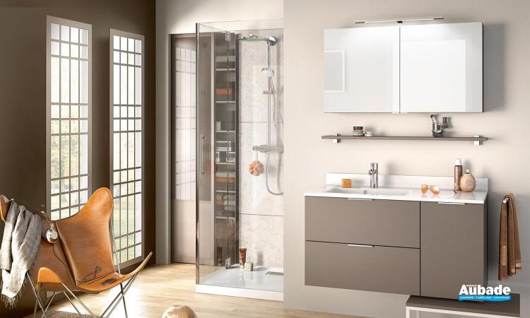 Meuble de salle de bains Evolution 105 façades Alba et corps de meuble moka mat de Delpha