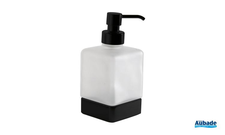 Distributeur de savon à poser noir mat et verre satiné de la gamme Cubo par Inda