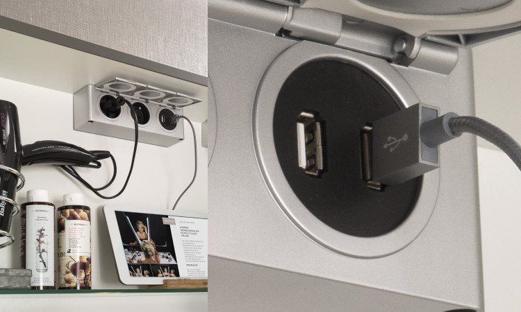 Boîtier 2 prises et 2 prises USB de Delpha