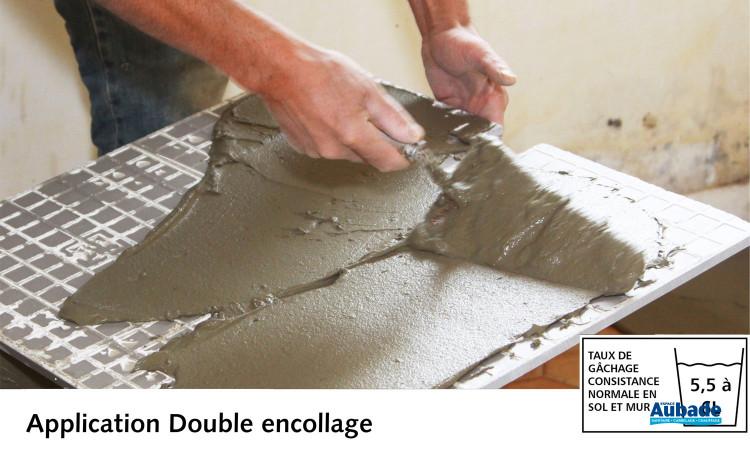 Mortier colle Carroflex DTG de Cegecol - Application double encollage