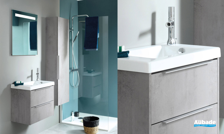 Ensemble meuble sous table chêne gris, table céramique blanc avec miroir XS de Sanijura