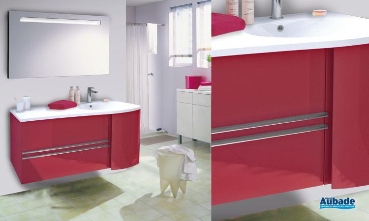 meuble salle de bains cosy laqué rouge brillant