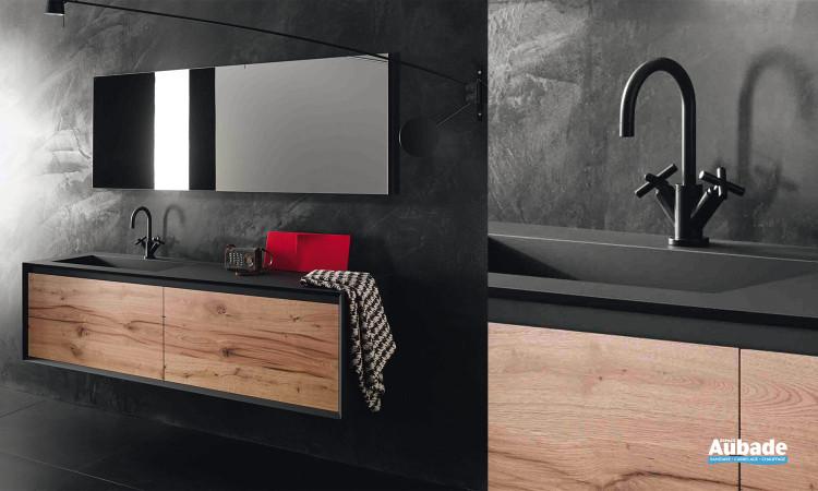 Meuble sous vasque Stocco IKS noir et bois vintage