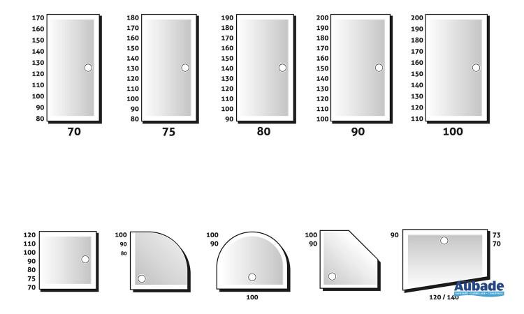 Rectangle, carré, 1/4 rond, demi-lune, pentagonal et trapèze