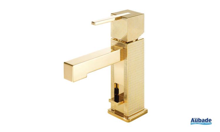 Mitigeur lavabo monotrou doré brillant