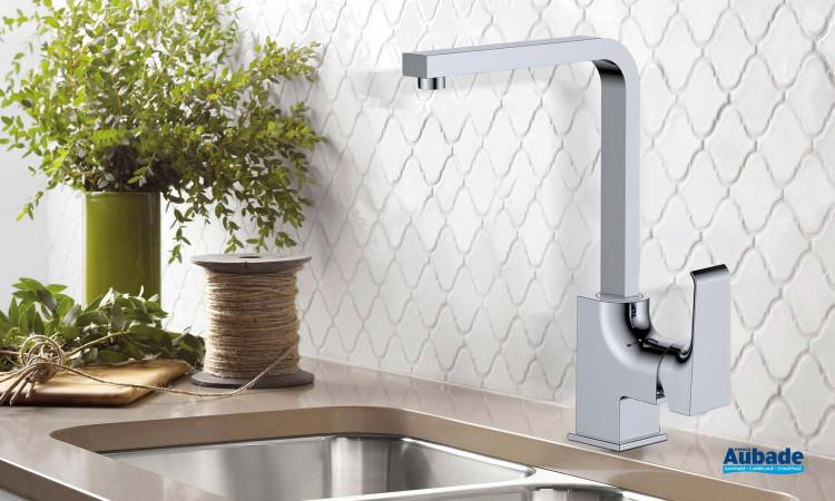 Robinet mitigeur bec haut carré chromé Zohé pour évier de cuisine par Païni France